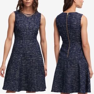 DKNY Sleeveless Tweed Dress with Gold Chain